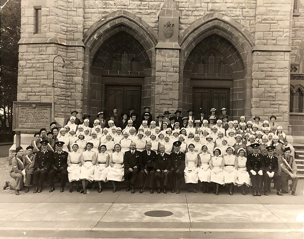 June 24, 1940 - St. John Day - Victoria St. John Ambulance members from nursing and ambulance brigades assembled in front of Christ Church Cathedral