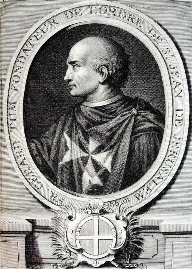 18th-century copper engraving by Laurent Cars - captioned Brother Gerard Tum, Founder of the Order of St John of Jerusalem 1099.